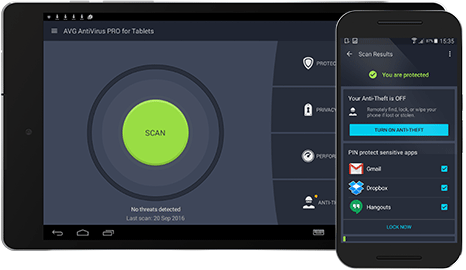 Android mobile and tablet with AntiVirus for Android Business Edition UI